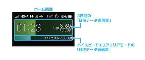 WX06のデータ通信量確認